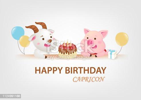 Birthday greeting card on white background.Capricorn's birthday. - Vector