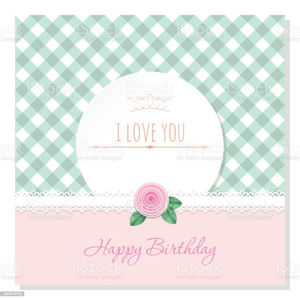 Birthday Greeting Card Template Round Frame On Plaid Background ...