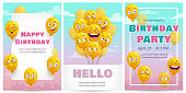 Birthday greeting card templates set. Celebration vector templates with funny yellow air balloons.