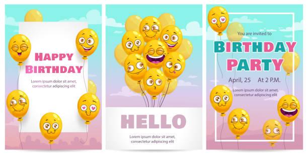 illustrations, cliparts, dessins animés et icônes de ensemble de modèles de cartes de vœux d'anniversaire. modèles de vecteur de célébration - ballon anniversaire smiley