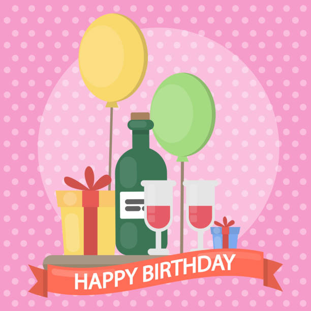 Royalty free background of the happy birthday wishes with wine background of the happy birthday wishes with wine bottle clip art vector images illustrations m4hsunfo