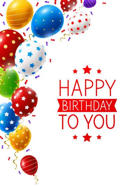 ilustrações de stock, clip art, desenhos animados e ícones de birthday greeting card with border of color balloons and confetti on white - balão enfeite