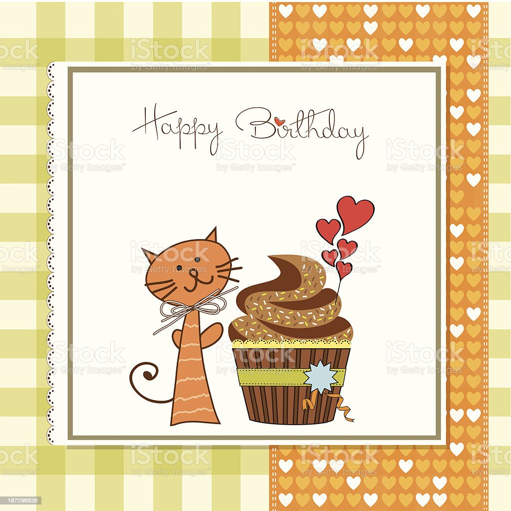 Birthday Greeting Card With Cupcake And Cat Stock Vector Art More