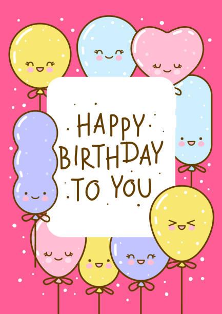 illustrations, cliparts, dessins animés et icônes de carte de voeux d'anniversaire avec des ballons mignons sur le rose - ballon anniversaire smiley