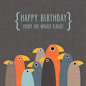 Birthday greeting card with funny standing birds on grey background
