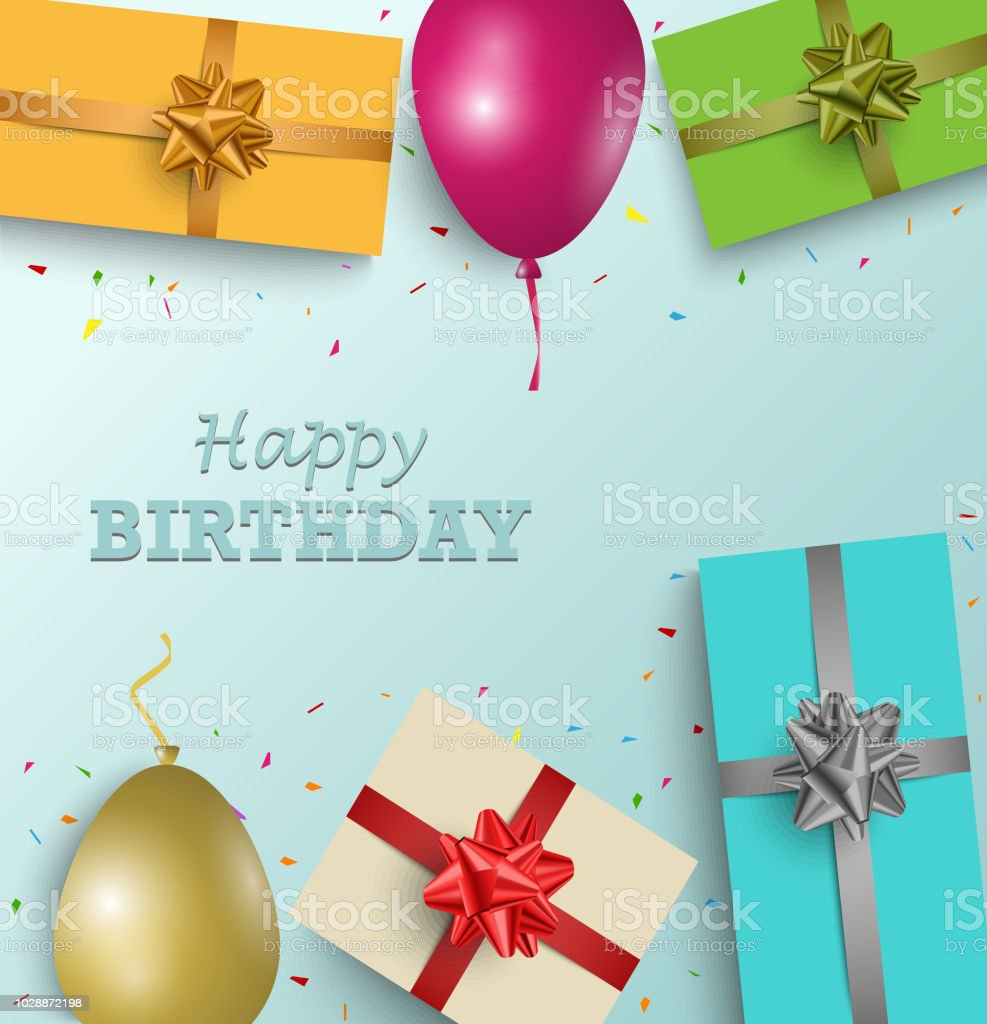 Birthday greeting card with gifts and balloons in background stock birthday greeting card with gifts and balloons in background royalty free birthday greeting card with m4hsunfo