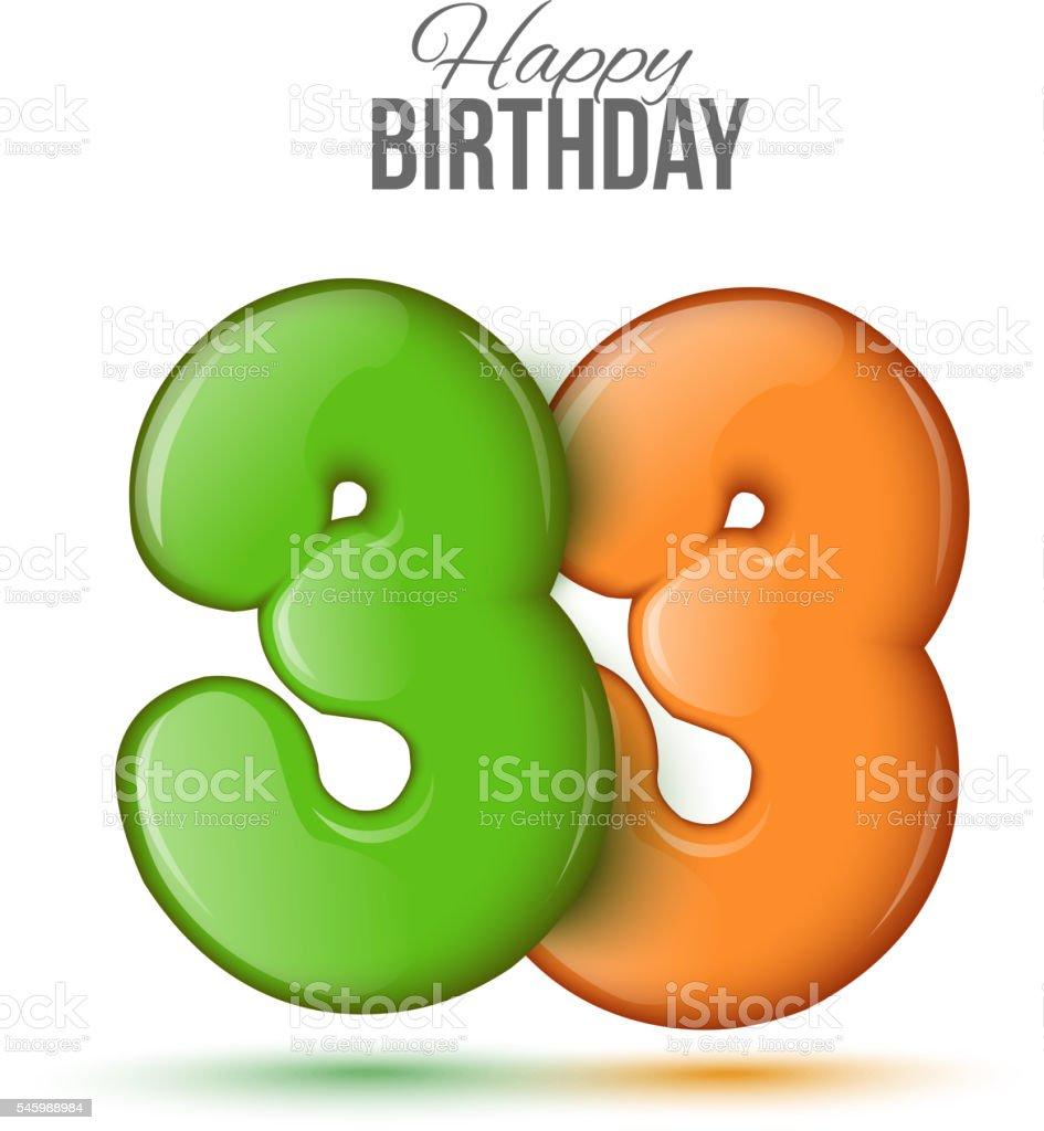 birthday greeting card with numbers 33 thirty three 3dのベクター