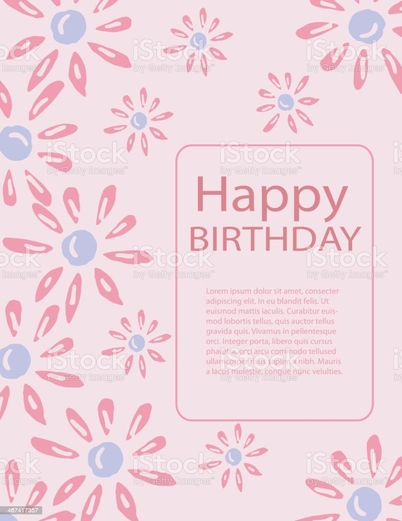 Birthday Greeting Card With Pink And Blue Daisy Design Flowers Stock