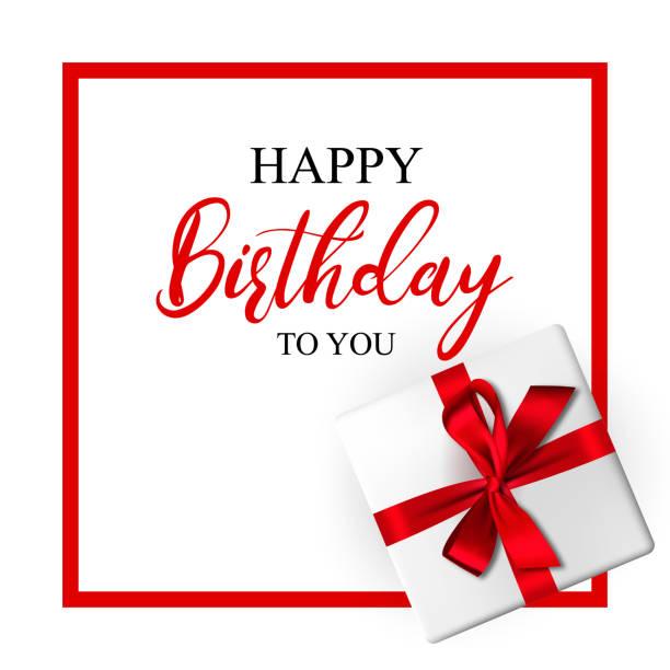 Geburtstag Grußkarte mit realistischen Geschenkbox und Zierschleife – Vektorgrafik