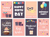 Birthday greeting cards vector design happy party invitation celebration gift anniversary background.