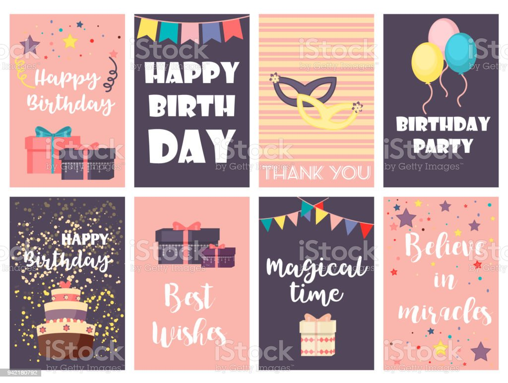Birthday greeting cards vector design happy party invitation celebration gift anniversary background. vector art illustration