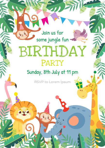 かわいい動物と誕生日のグリーティングカード - 動物園点のイラスト素材/クリップアート素材/マンガ素材/アイコン素材