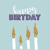 Birthday greeting cards with gold glitter design. Vector illustration.