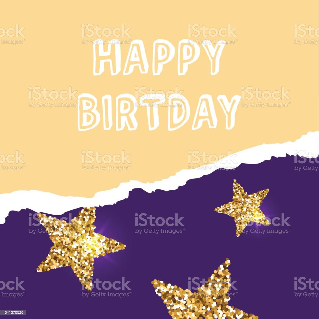 Birthday Greeting Cards With Gold Glitter Design Vector Illustration Royalty Free