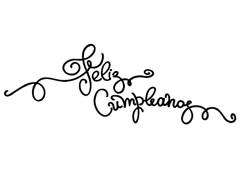 Birthday greeting in Spanish. Text says Happy Birthday. Hand lettering on white backgound