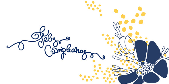 Birthday greeting in Spanish. Text says Happy Birthday. Hand lettering and abstract flowers on white backgound