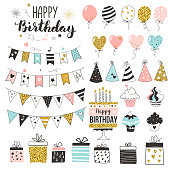 Birthday greeting party elements, set of balloons, flags, cupcakes, gift boxes, garlands and hats, pastel colors, hand drawn style