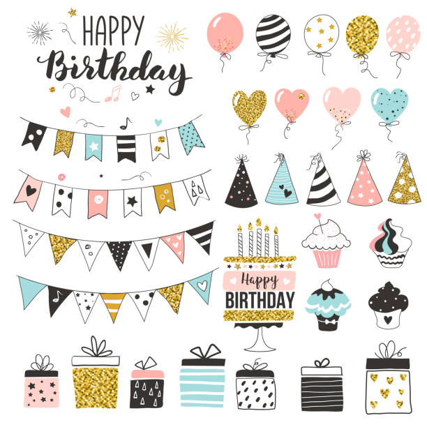 Birthday greeting party elements Birthday greeting party elements, set of balloons, flags, cupcakes, gift boxes, garlands and hats, pastel colors, hand drawn style birthday icons stock illustrations