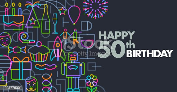 Birthday Greeting Icons in a geometric flat style, 50th,