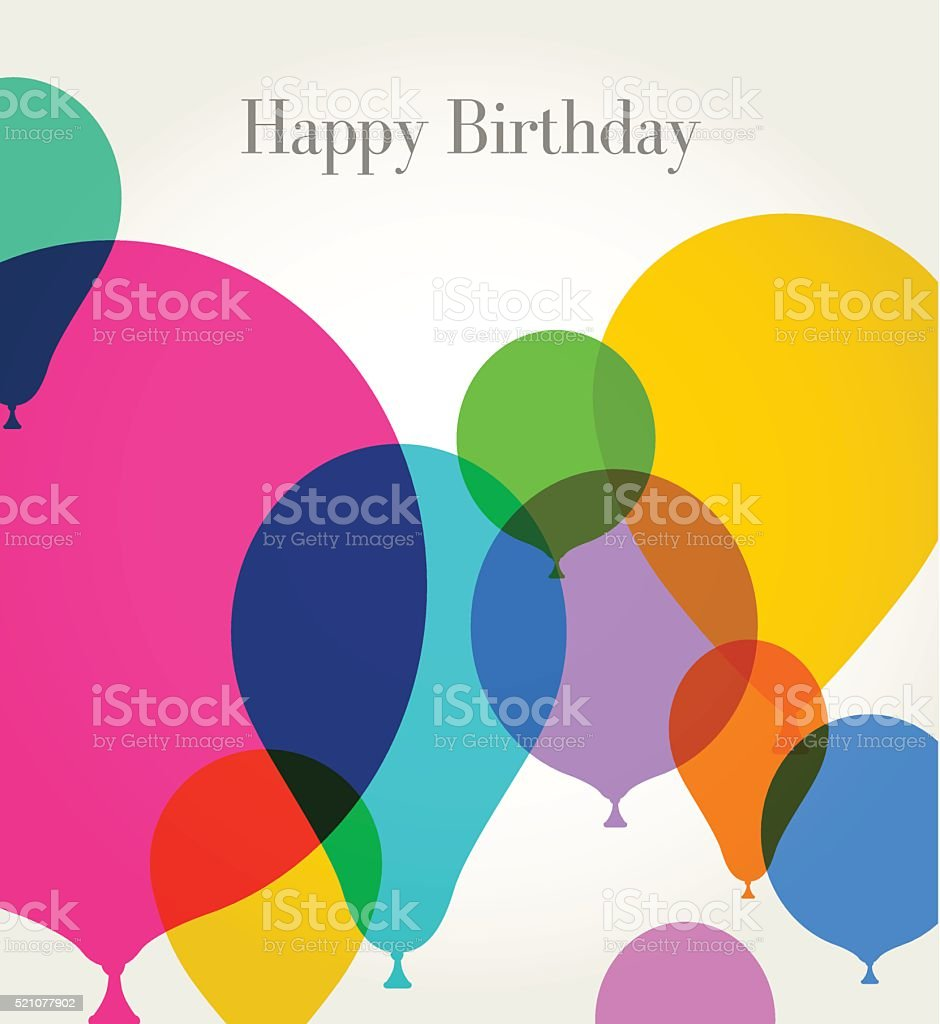 Birthday Greeting with Balloons vector art illustration