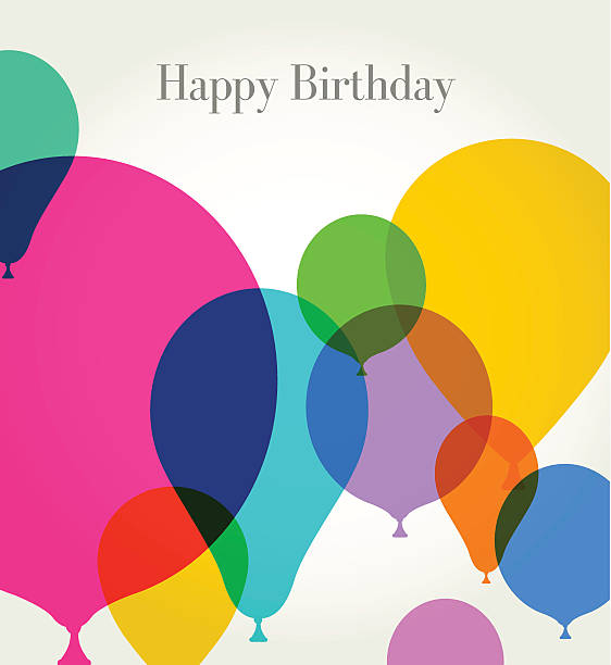 Birthday Greeting with Balloons vector art illustration