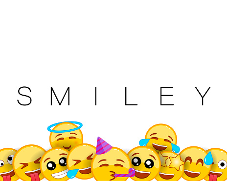 Birthday happy smile greeting card. Smiley background with yellow emoticons of funny and happy facial expressions. Party, happy brithday. Empty blank space for text. Vector EPS 10