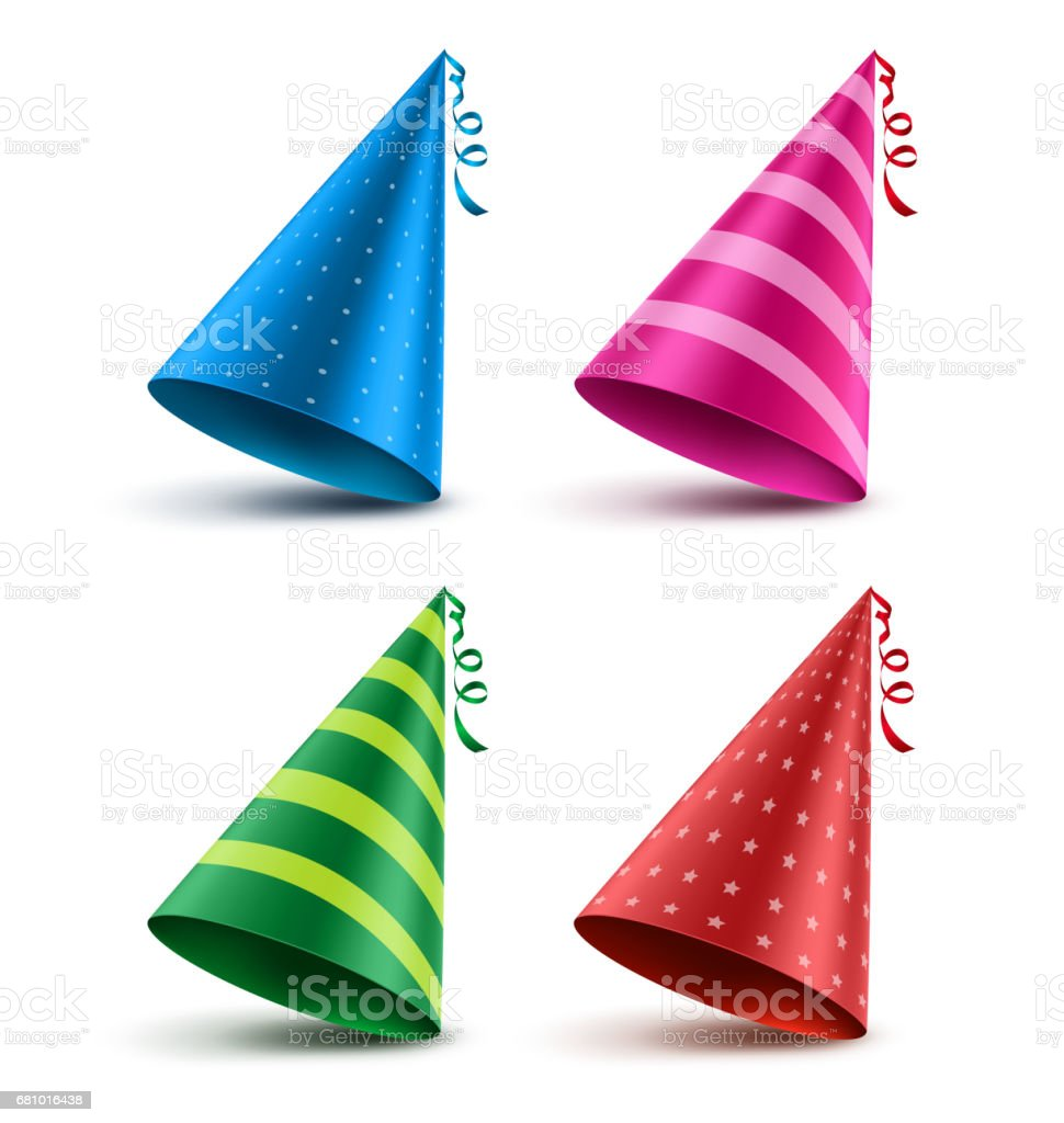 Birthday hat vector set with colorful patterns elements and decorations vector art illustration