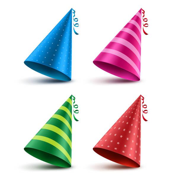 bildbanksillustrationer, clip art samt tecknat material och ikoner med födelsedag hatt vektor set med färgglada mönster element och dekorationer - hatt
