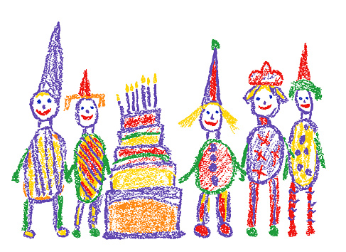Birthday holiday happy family and candle cake. Like child`s hand drawn home party or play day.