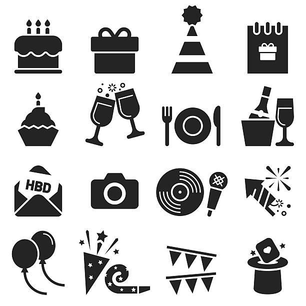 Birthday Icons [Black Edition] Birthday Icons  birthday icons stock illustrations