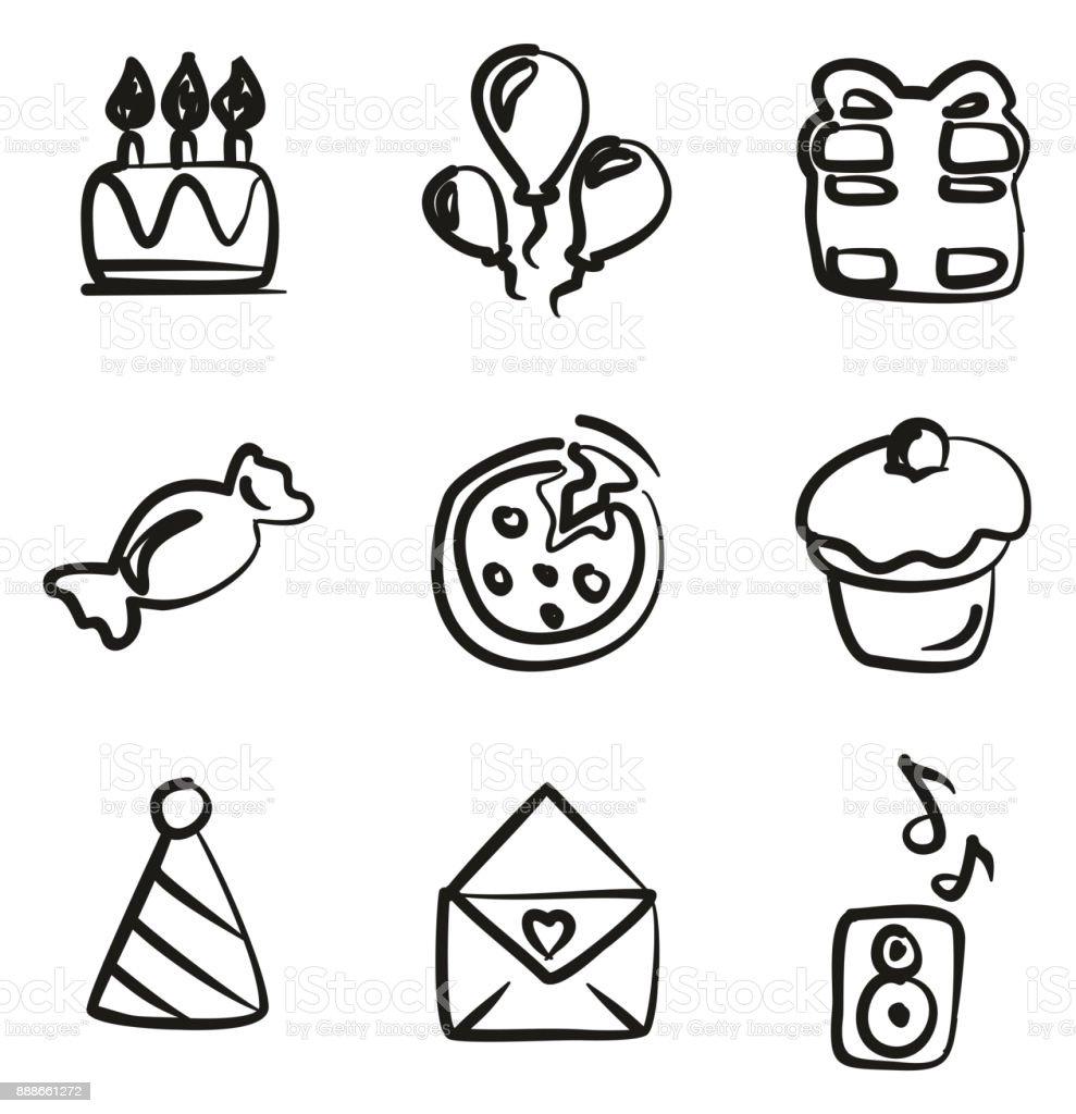 誕生日アイコン フリーハンド Djのベクターアート素材や画像を多数ご