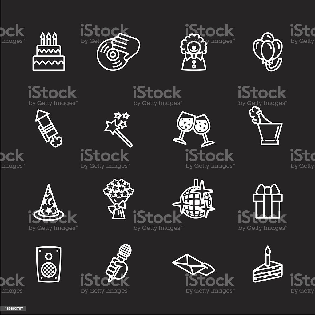 birthday icons set royalty-free stock vector art
