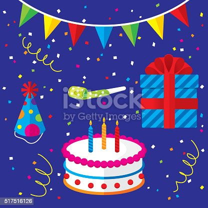 Vector illustration of a set of birthday related items. Includes: cake, present, hat, toy, confetti, and flags.