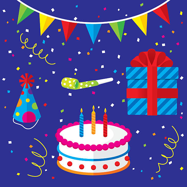 Birthday Icons Set vector art illustration