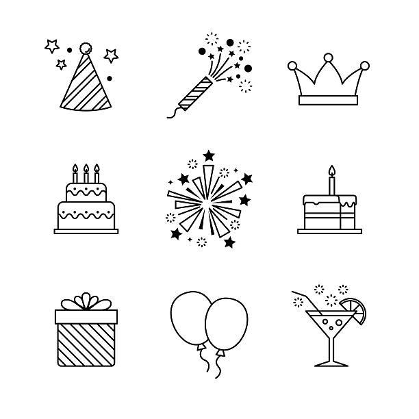 urodziny ikony cienka linia sztuki zestaw. świętowanie - new year stock illustrations