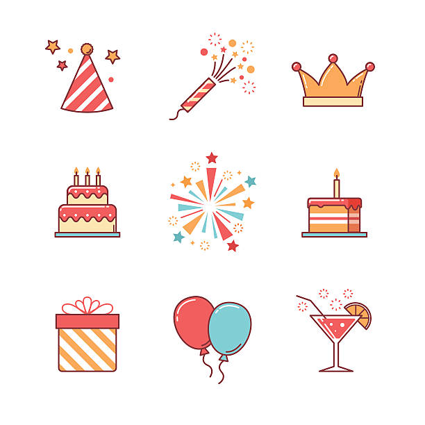 urodziny zestaw ikon linia cienka - new year stock illustrations