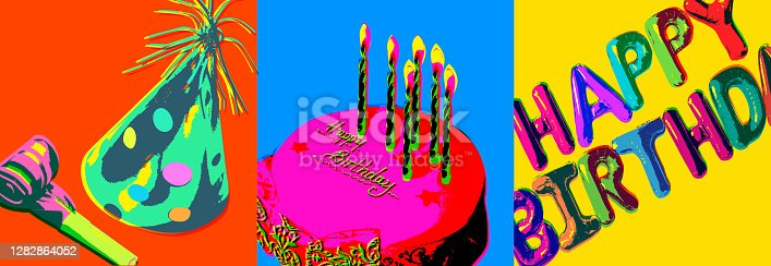 Posterised or Pop Art styled Birthday Greeting, birthday, birthday card, happy birthday,  message, balloon,