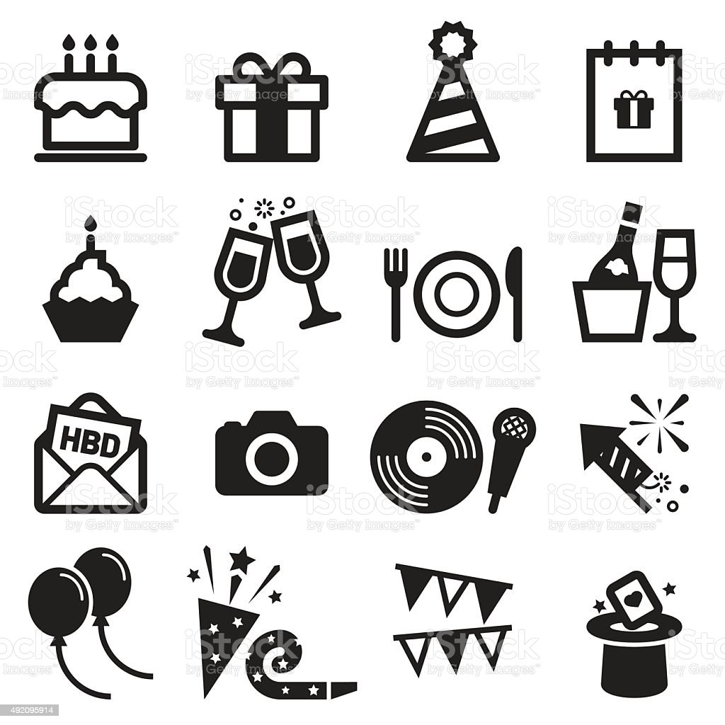 Iconos de cumpleaños - ilustración de arte vectorial