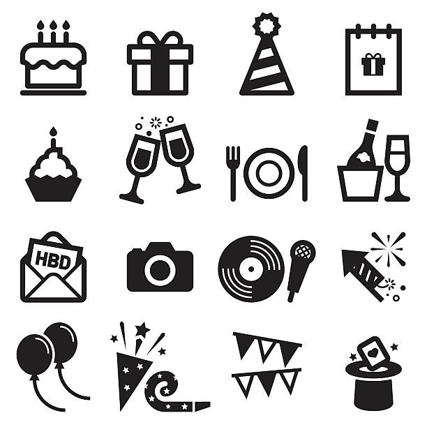 birthday icons - happy birthday cake stock illustrations, clip art, cartoons, & icons