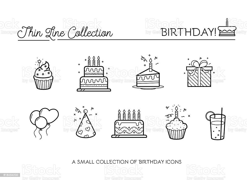 birthday icons vector art illustration