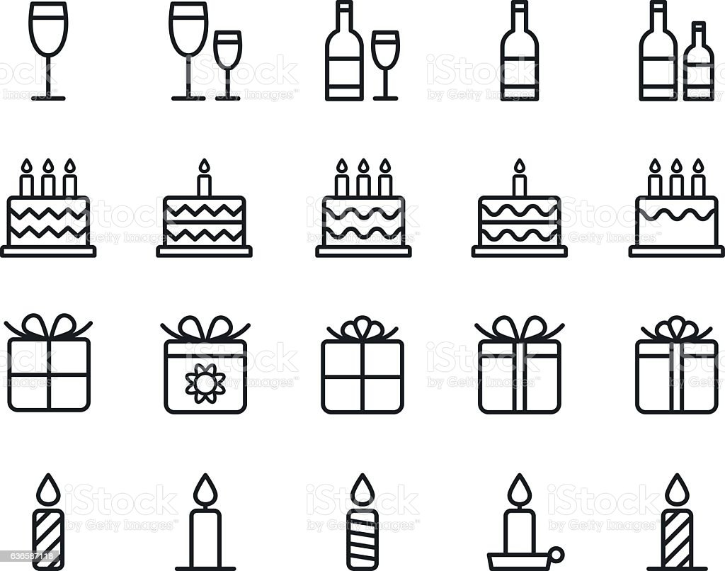 Birthday icons. Vector. - Illustration vectorielle