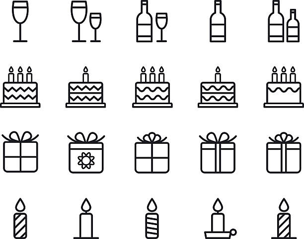 Birthday icons. Vector. Birthday icons. Vector illustration. birthday symbols stock illustrations