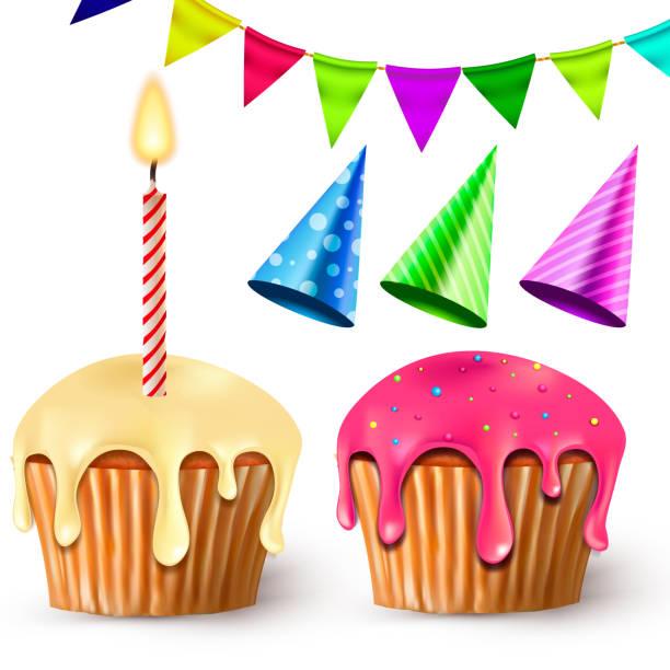 Geburtstag-Abbildung. Festliche Kuchen, Kerzen und hellen Fahnen – Vektorgrafik
