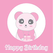 Birthday illustration with cute baby pink panda on circle frame suitable for birthday invitation card, greeting card, and postcard