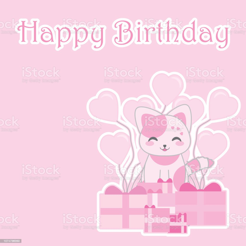 Birthday Illustration With Cute Pink Cat Gifts On Background Suitable For Girl Invitation Card