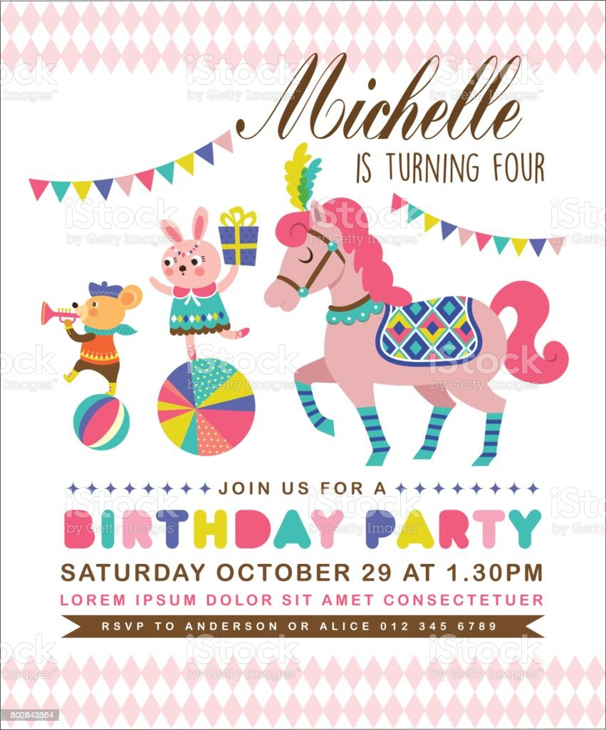 Birthday Invitation Card Stock Vector Art & More Images of Animal ...