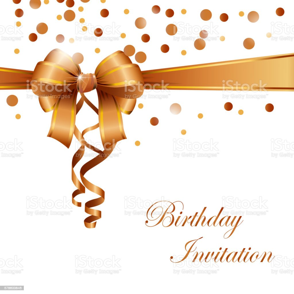 Birthday Invitation Card With Gold Ribbon Stock Illustration