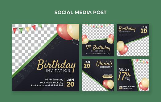 Birthday invitation social media post template