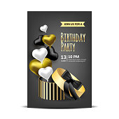 Birthday invitation with packing boxes and golden balloons. Vector illustration background.