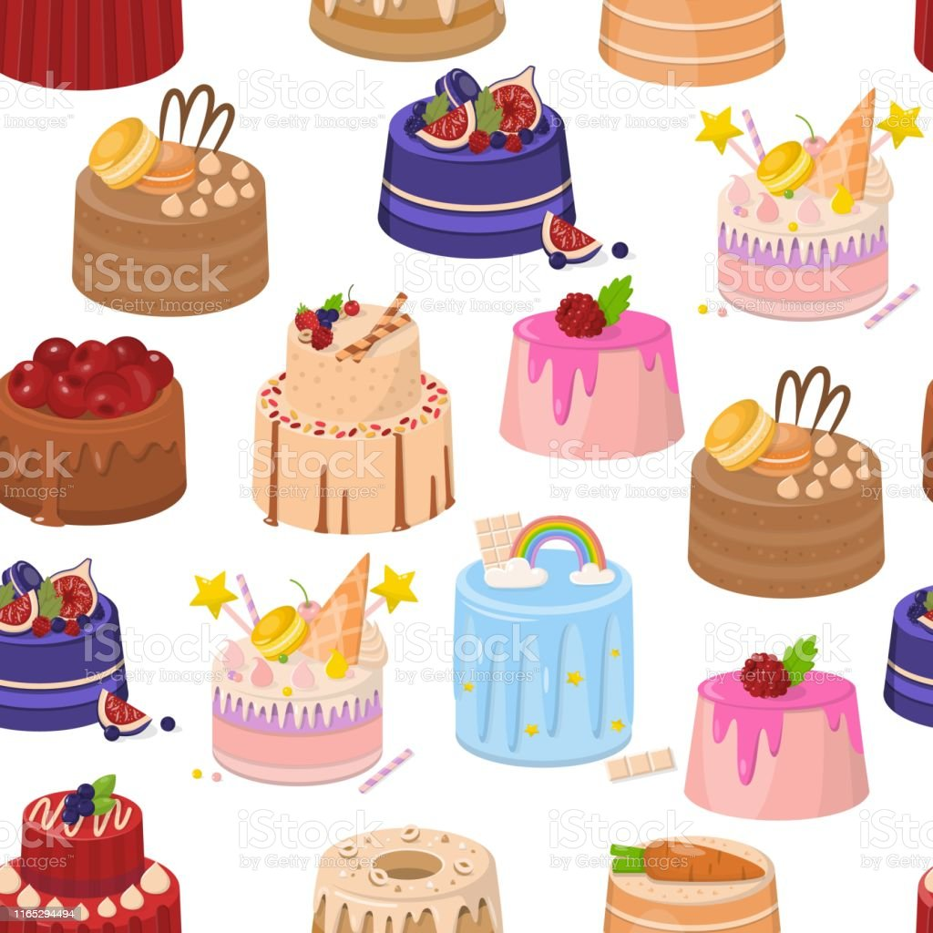 Cartoon Birthday Layer Cakes and Pies Seamless Pattern. Colorful...